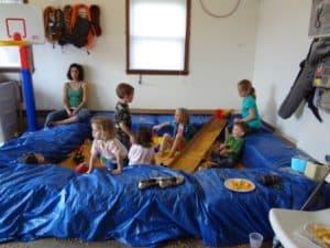 Corn pit full of kids playing