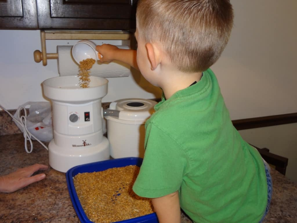 pouring wheat into flour mill