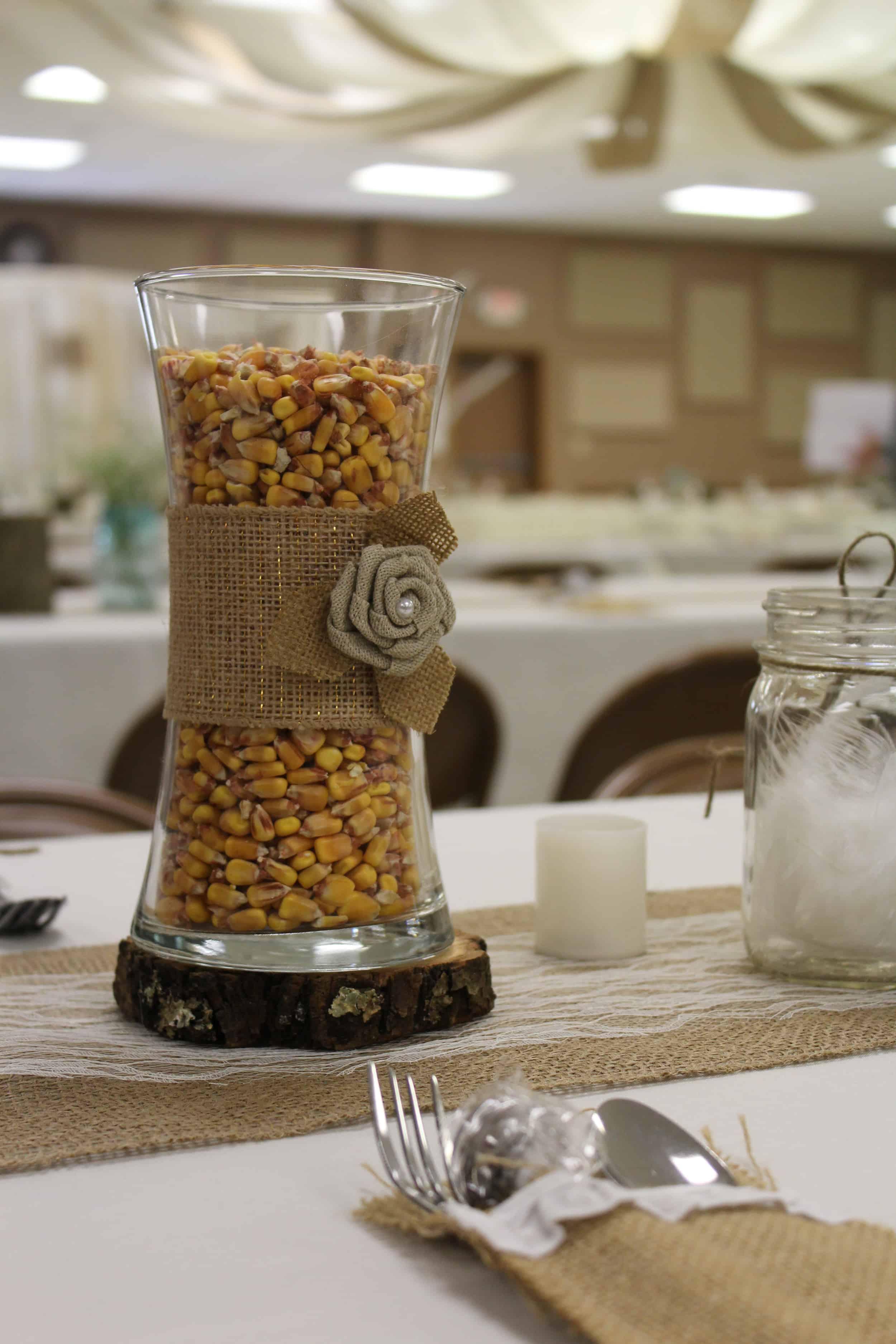 corn filled vase with burlap ribbon