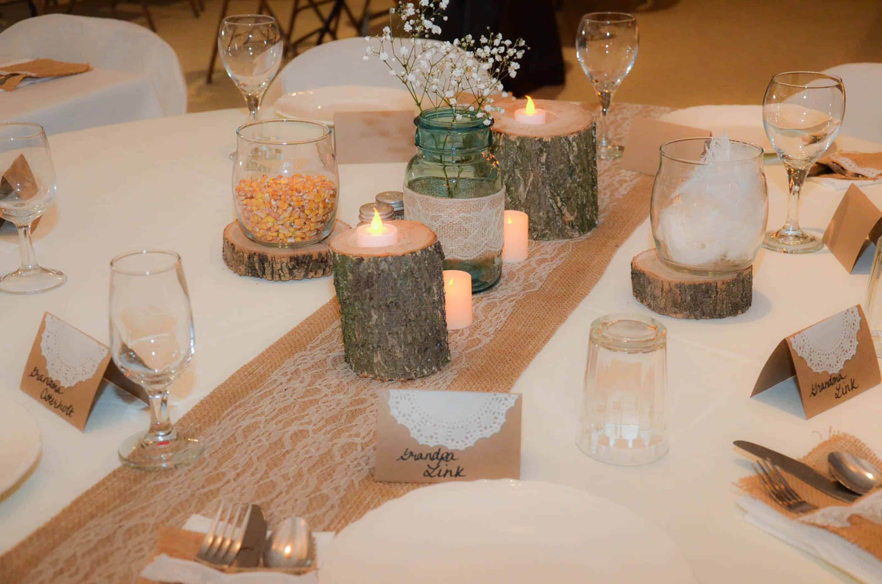 Burlap and lace country wedding decorations plowing through life head table decor junglespirit Image collections