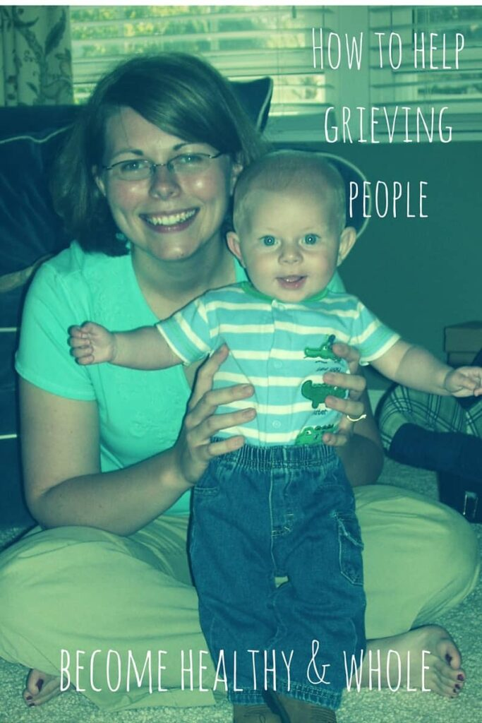 """a healing family with text """"how to help grieving people become healthy & whole"""""""