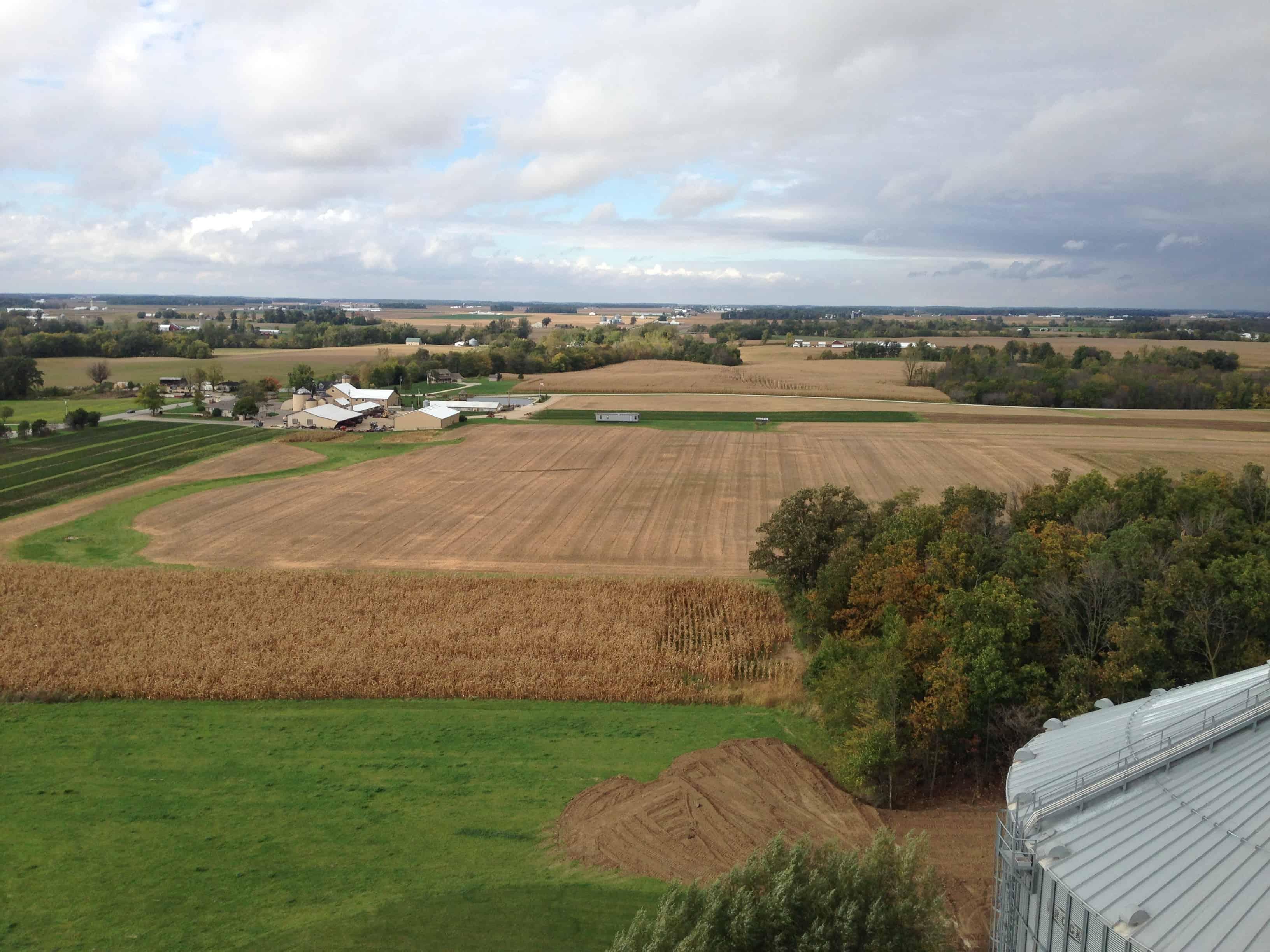 aerial view of farm land