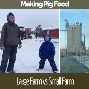 Large & Small Farm Comparison of feed mills with text