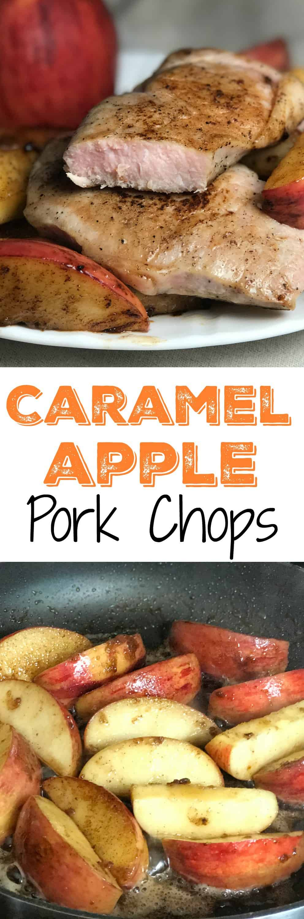 Collage of caramelized apple pork chops and apples with text