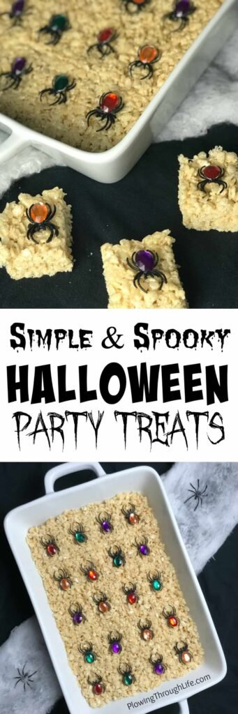 collage of simple and spooky halloween treat cereal bars