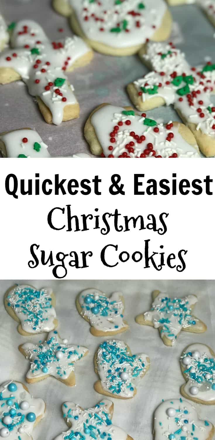 collage of easy sugar cookies from a box mix
