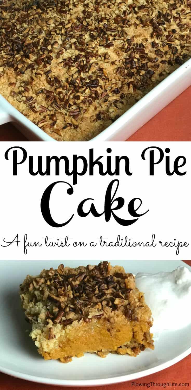 This pumpkin pie cake is a fun twist on an easy pumpkin pie dessert idea