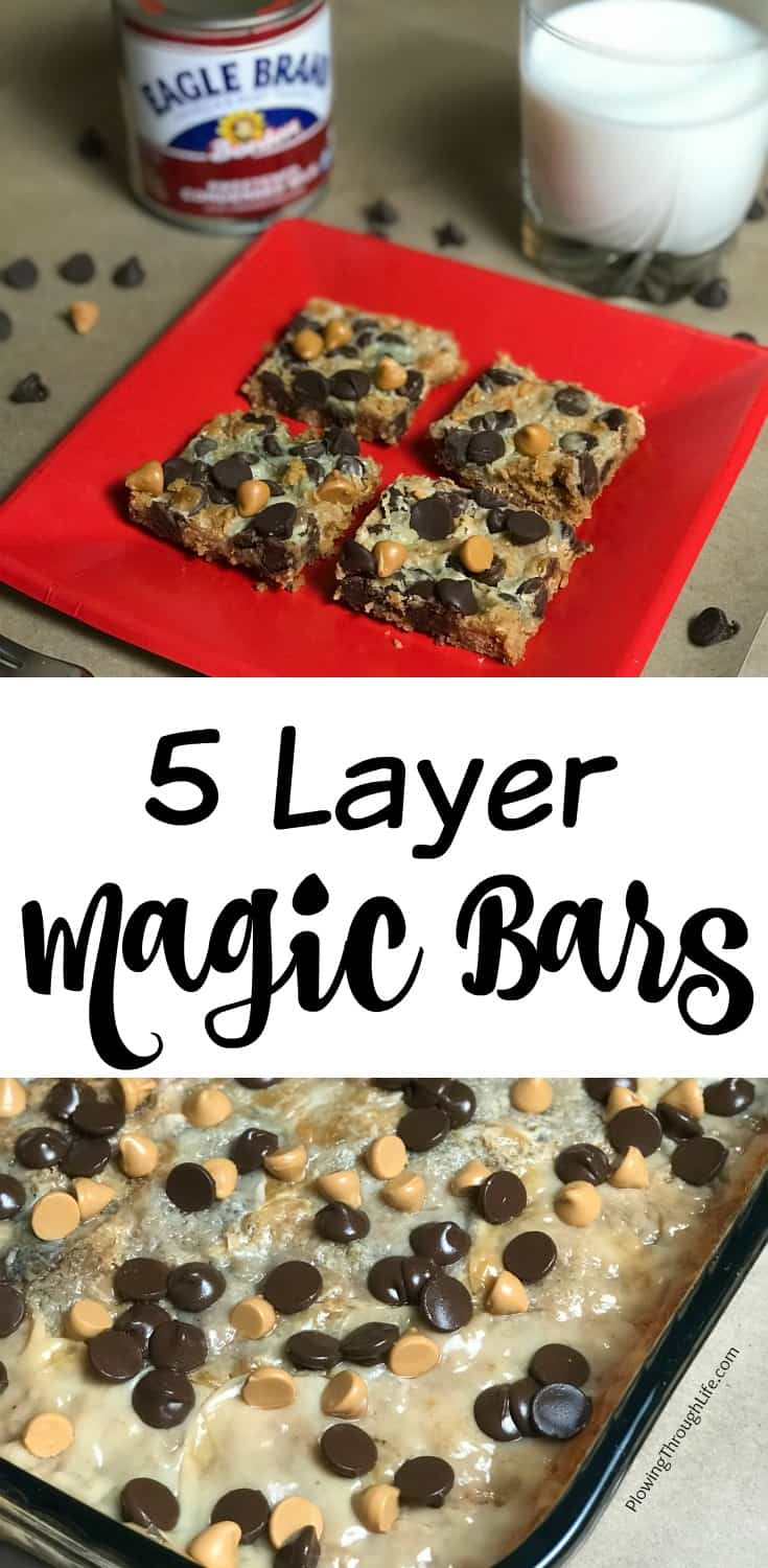 five to seven layer bar cookies with Eagle brand milk