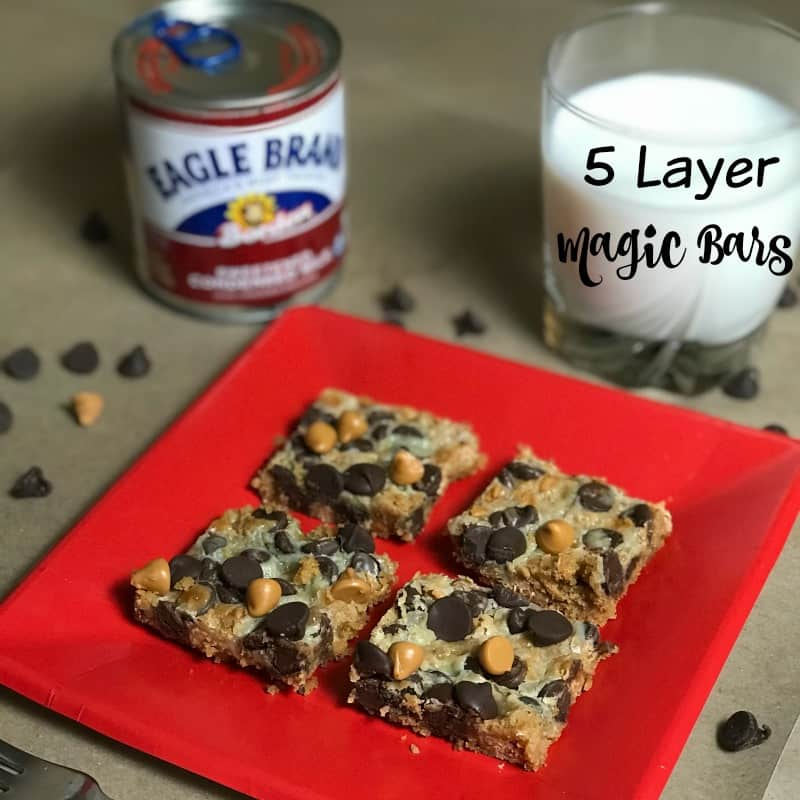 Red plate with delicious Eagle brand magic cookie bars
