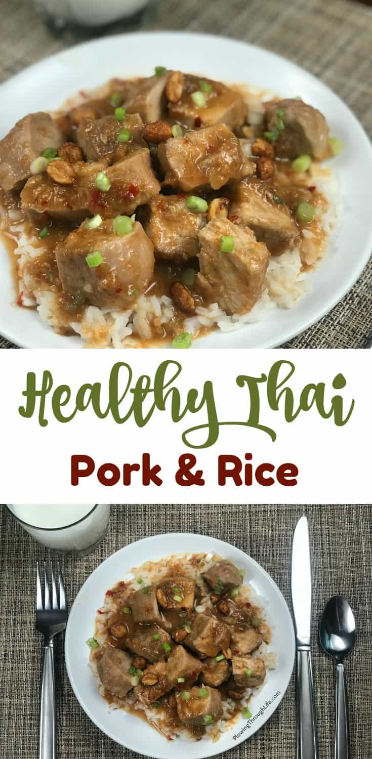 collage of healthy thai pork and rice
