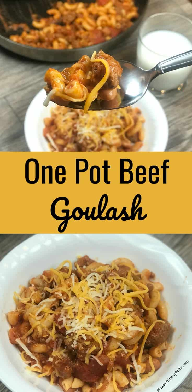 collage of cheesy one pot beef goulash with text