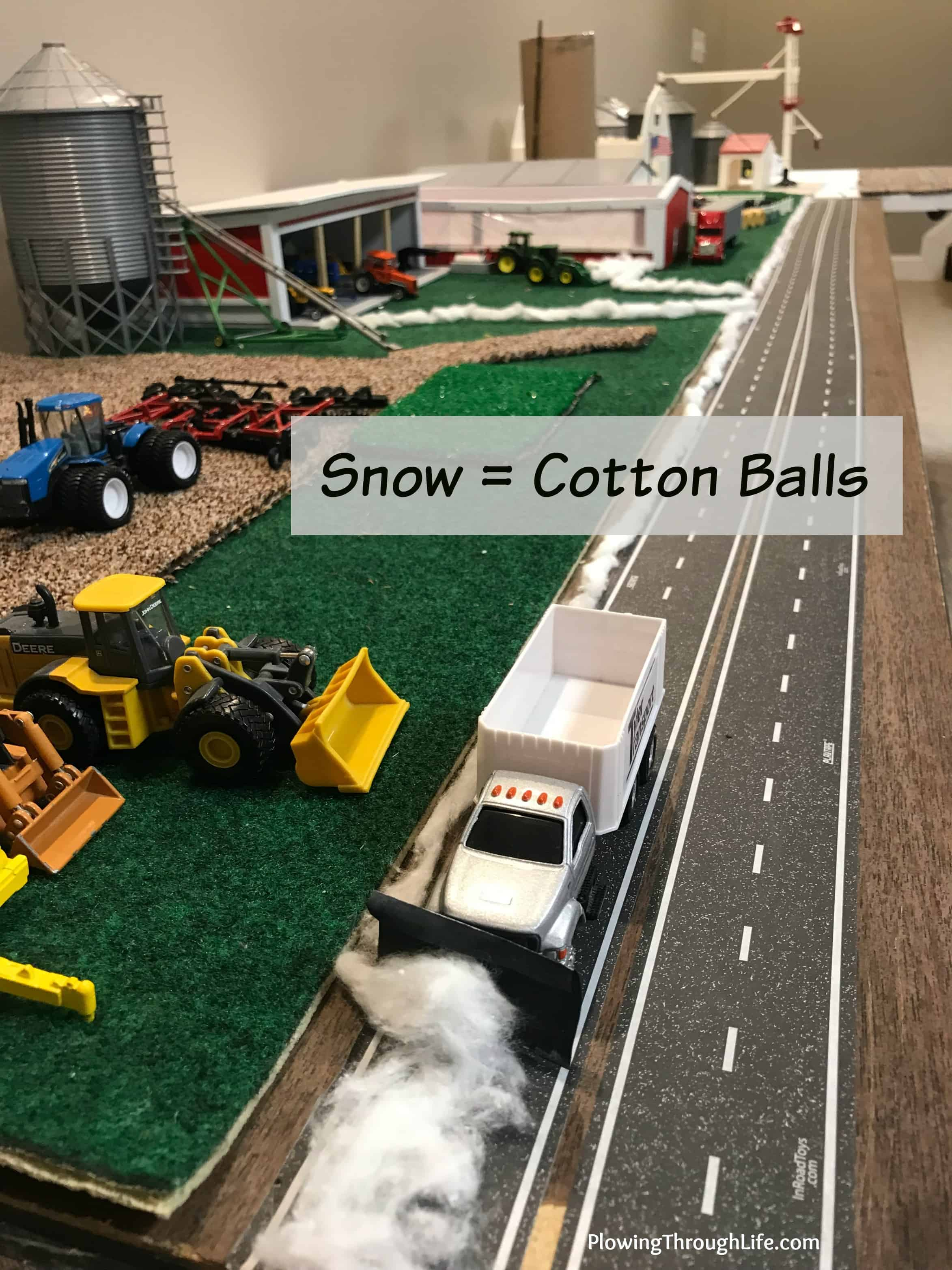 make snow out of cotton balls on 1/64 farm scene