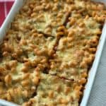 large dish of pasta bake with cheese