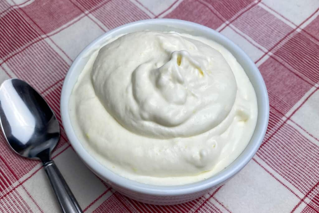 Big bowl of freshly made old-fashioned ice cream