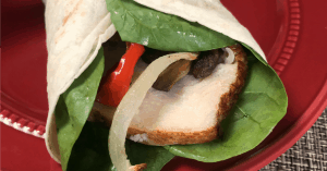 spinach, turkey and roasted veggies make an easy wrap for lunch