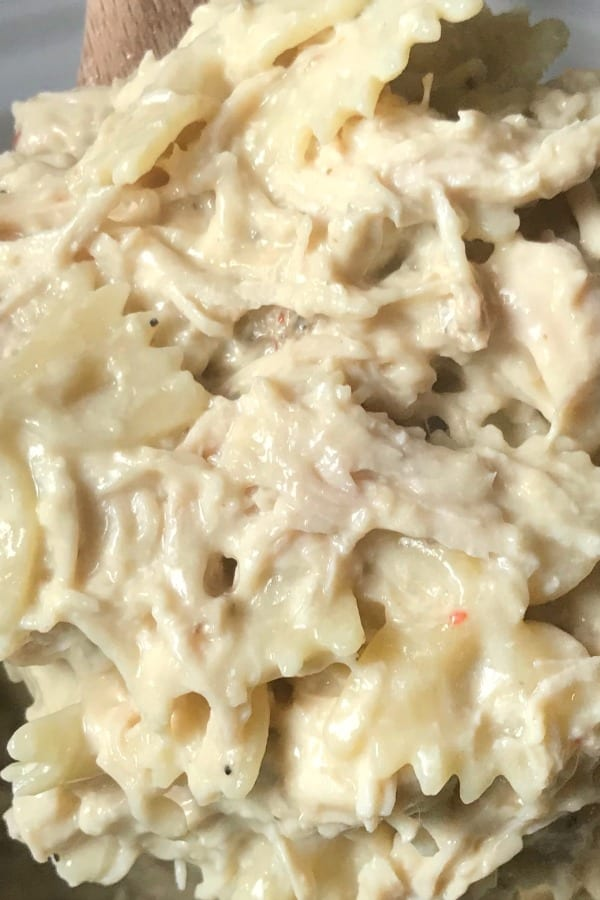 Easy chicken and pasta crock pot recipe for picky eaters. A couple of us in the family are known to be picky eaters and we both love how delicious, creamy and filling this chicken casserole is.