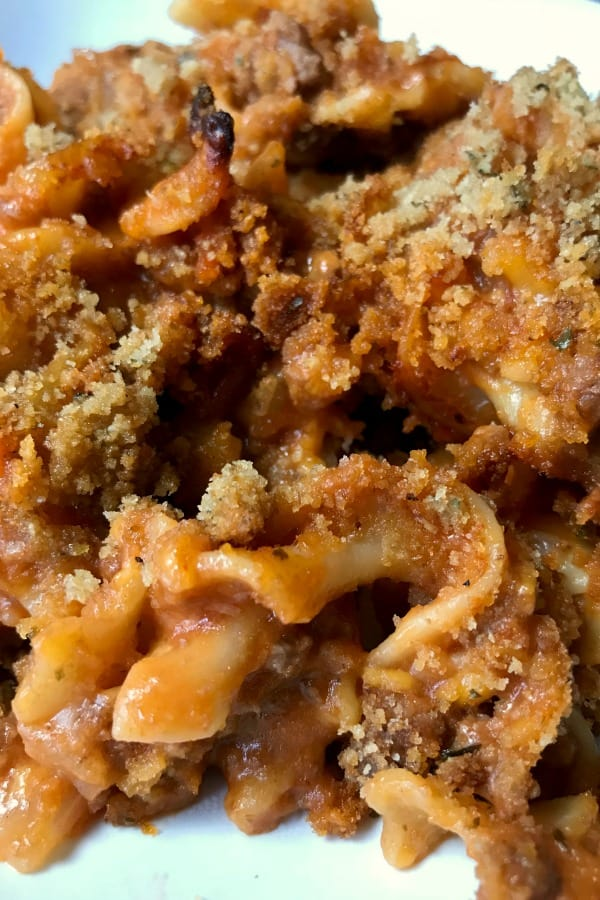 Easy Mexican Style Casserole with ground beef, tomato sauce, noodles and a bread crumb topping