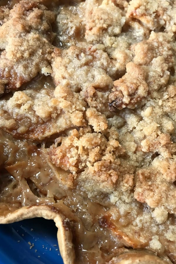The best apple pie on our farmhouse table is this Caramel Apple Pie. It's like dipping apples in caramel in a pie. It's so delicious!!