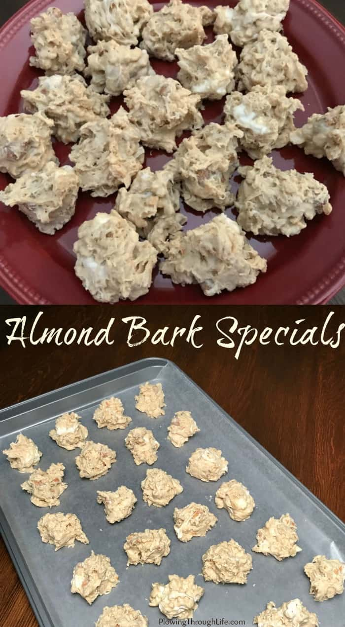 Collage of no-bake avalanche cookies made with almond bark