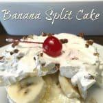 Piece of Banana Split Cake next to pan