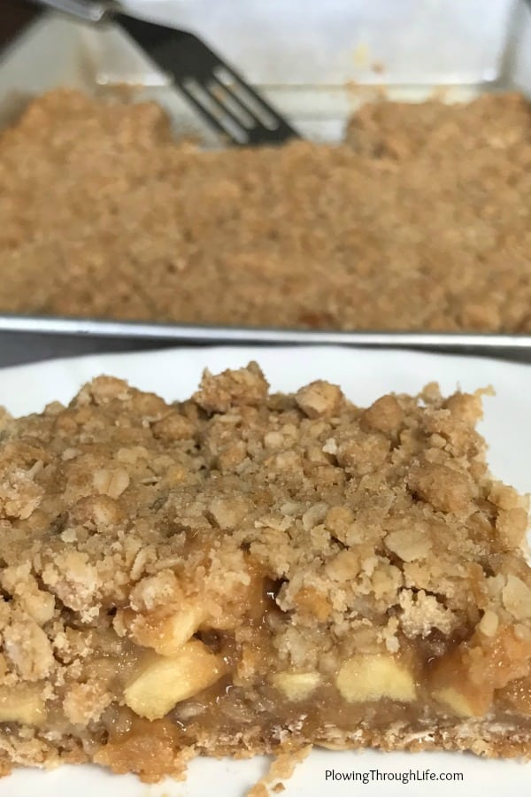 Close up of caramel apple bar with chunks of fresh apple