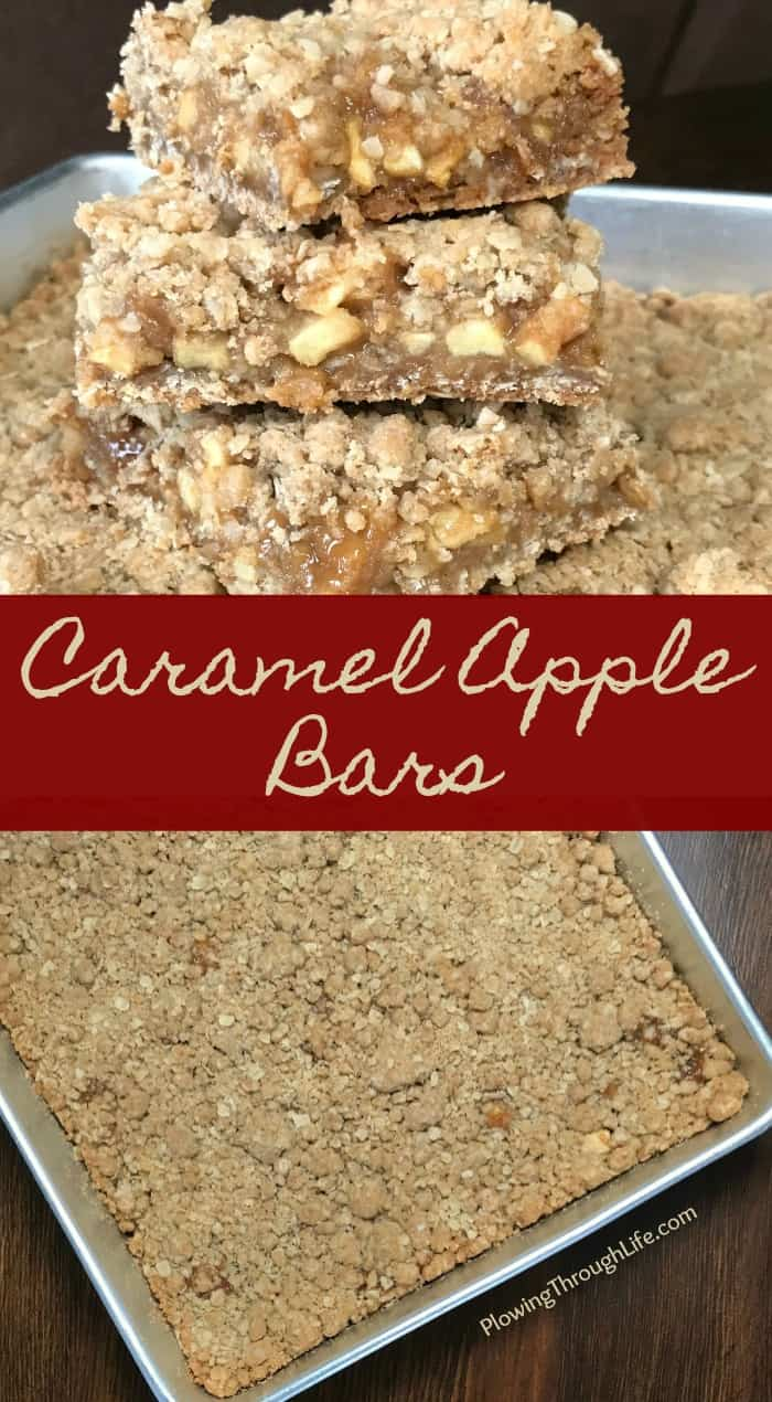 Collage of Caramel Apple Bars with text