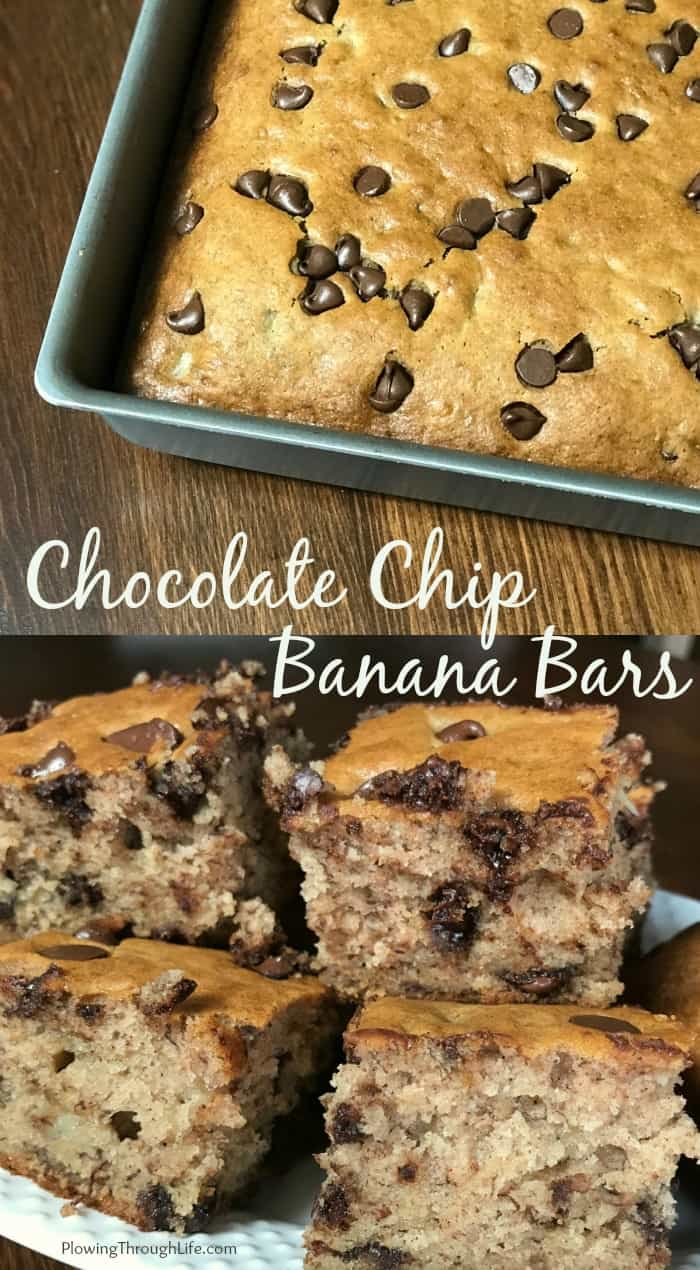 Collage of banana bars with chocolate chips in baking dish and cut into chuncks