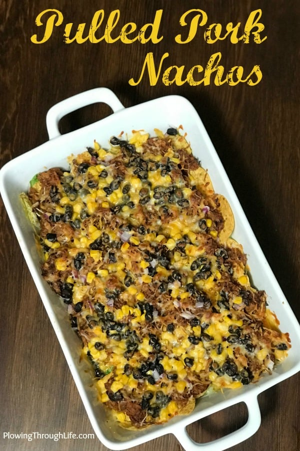 Easy pulled pork nacho casserole in a 9 x 13 dish with text
