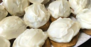 Close up of pumpkin cookies with homemade cream cheese icing