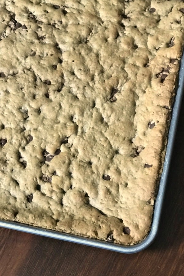 Sheet pan of chocolate chip and oatmeal cookie bars