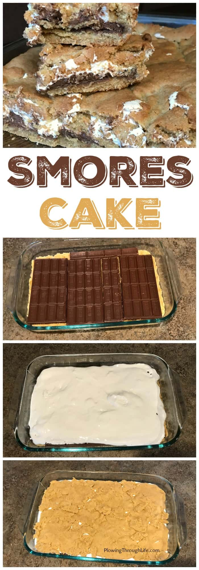 Collage showing how to make layers in a Gooey Smores Cake