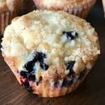 the best blueberry muffin with a perfect crumbly topping and it's so easy to make