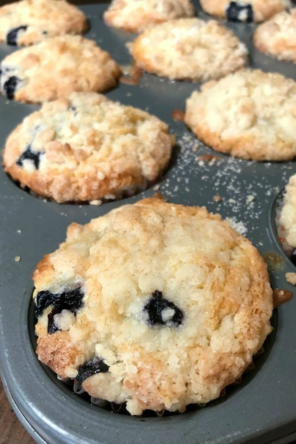Farmhouse food is so good and this blueberry muffin recipe is an easy classic recipe! The crumbly topping makes these the best blueberry muffins we've ever had! #muffin #easyrecipe