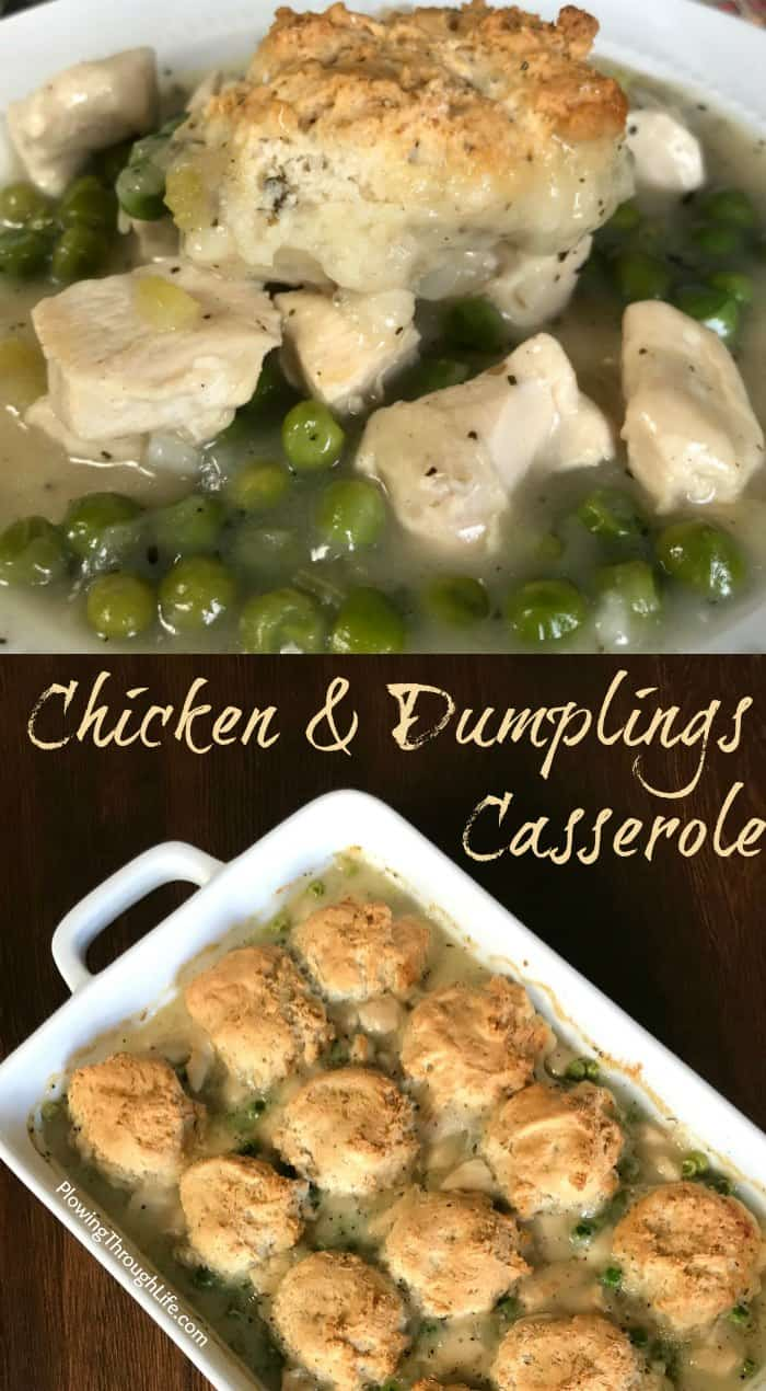 Collage of Bisquick chicken and dumplings casserole is packed with vegetables and is warm and delicious