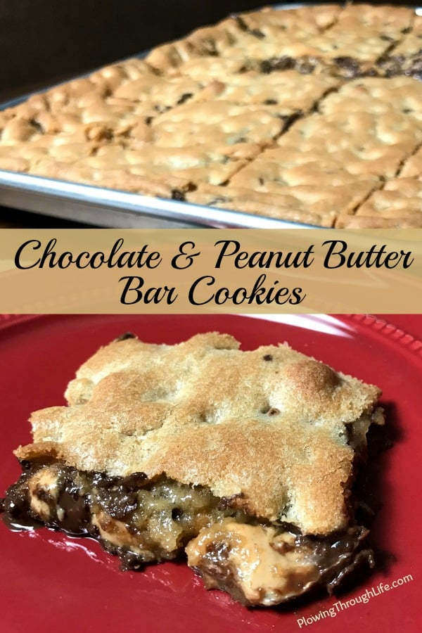 Chocolate chip and peanut butter bar cookie on a red plate next to a baking sheet full of easy bar cookies.