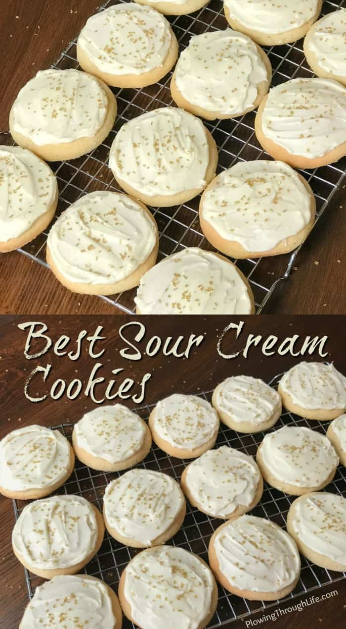Collage of Round Sour Cream Cookies cut out cookies with icing and sprinkles