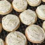 Round cut-out Sour Cream Cookies with homemade icing