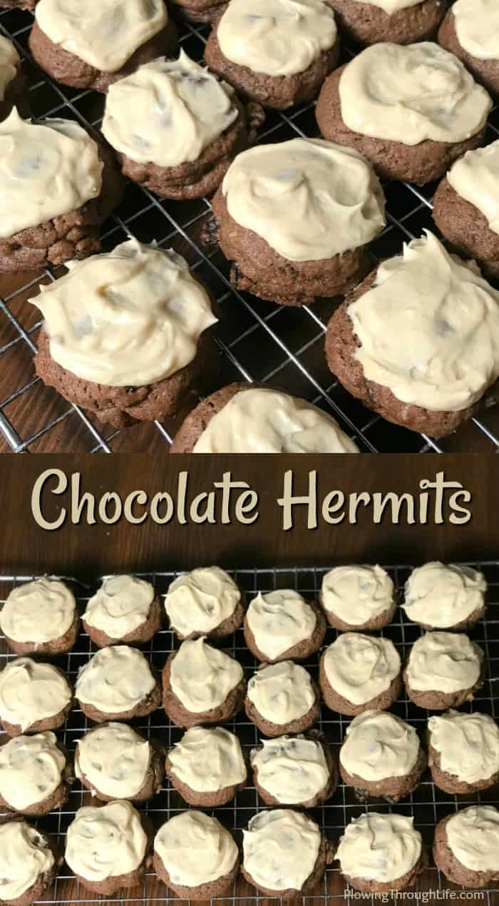These Chocolate Hermits are the best old-fashioned cookies with icing that I've had! The nuts and raisinsadd a great flavor and chewiness while the icing keeps them sweet. Our family really enjoys these Chocolate Hermit Cookies!