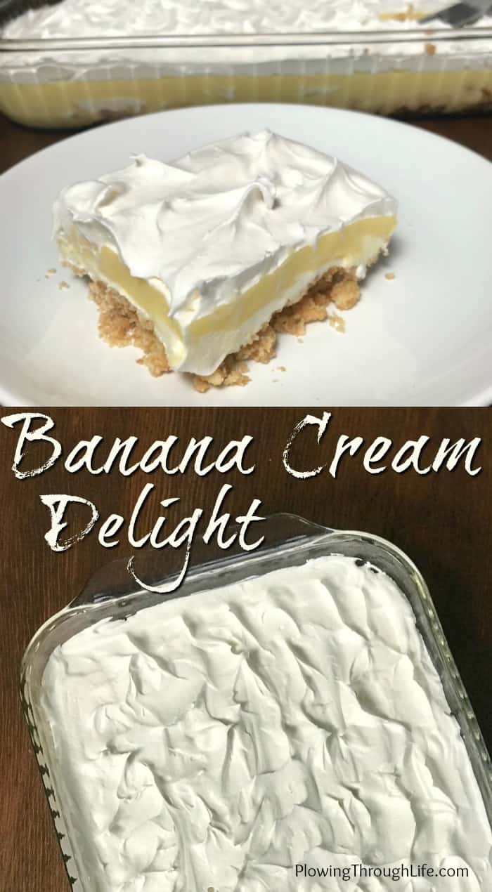 Collage of Easy Banana Cream Delight pictures in a 9 x 13 dish