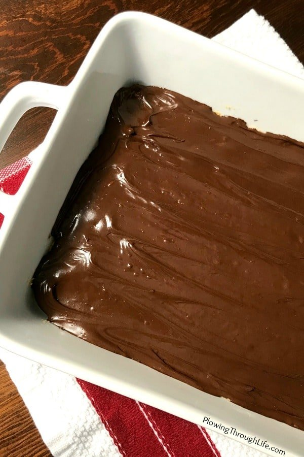 9x13 pan of no bake peanut butter bars covered in melted chocolate