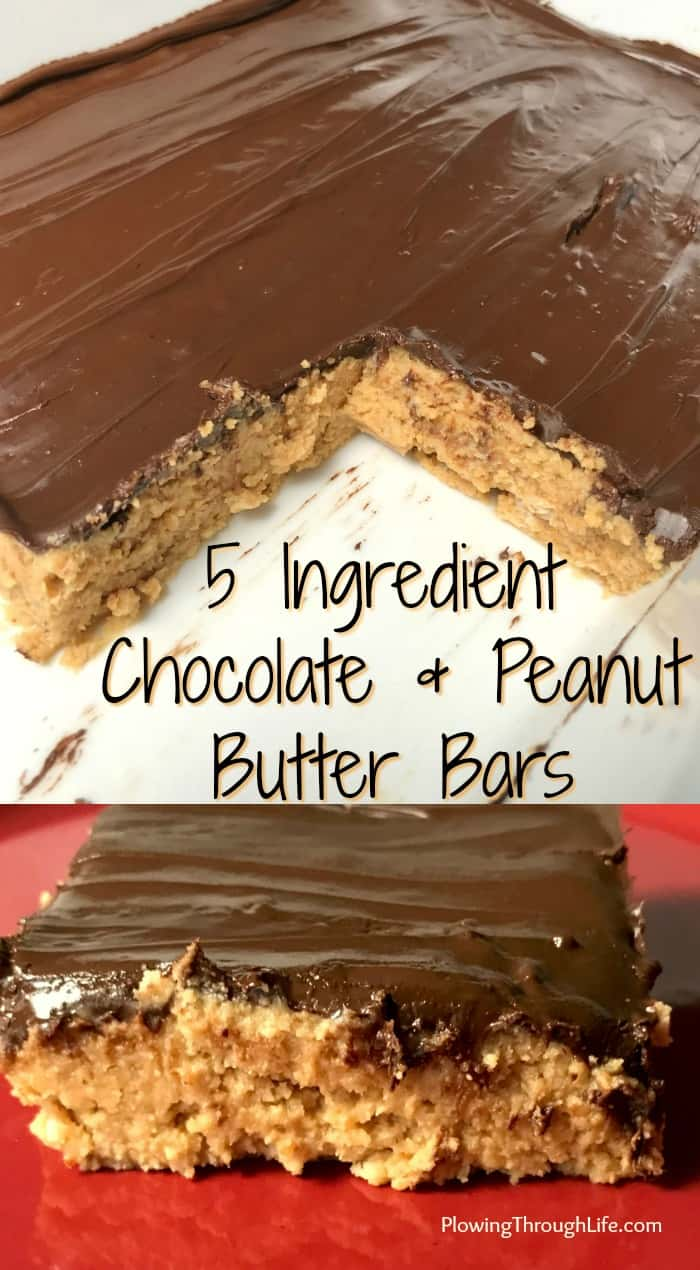 Collage of 5 ingredient chocolate and peanut butter no bake bars