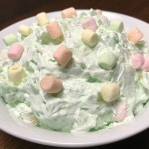 Watergate salad or fluff with colored mini marshmallows made with pistachio pudding and cool whip
