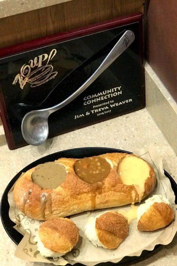triple bread boule soup flight at Zoup!