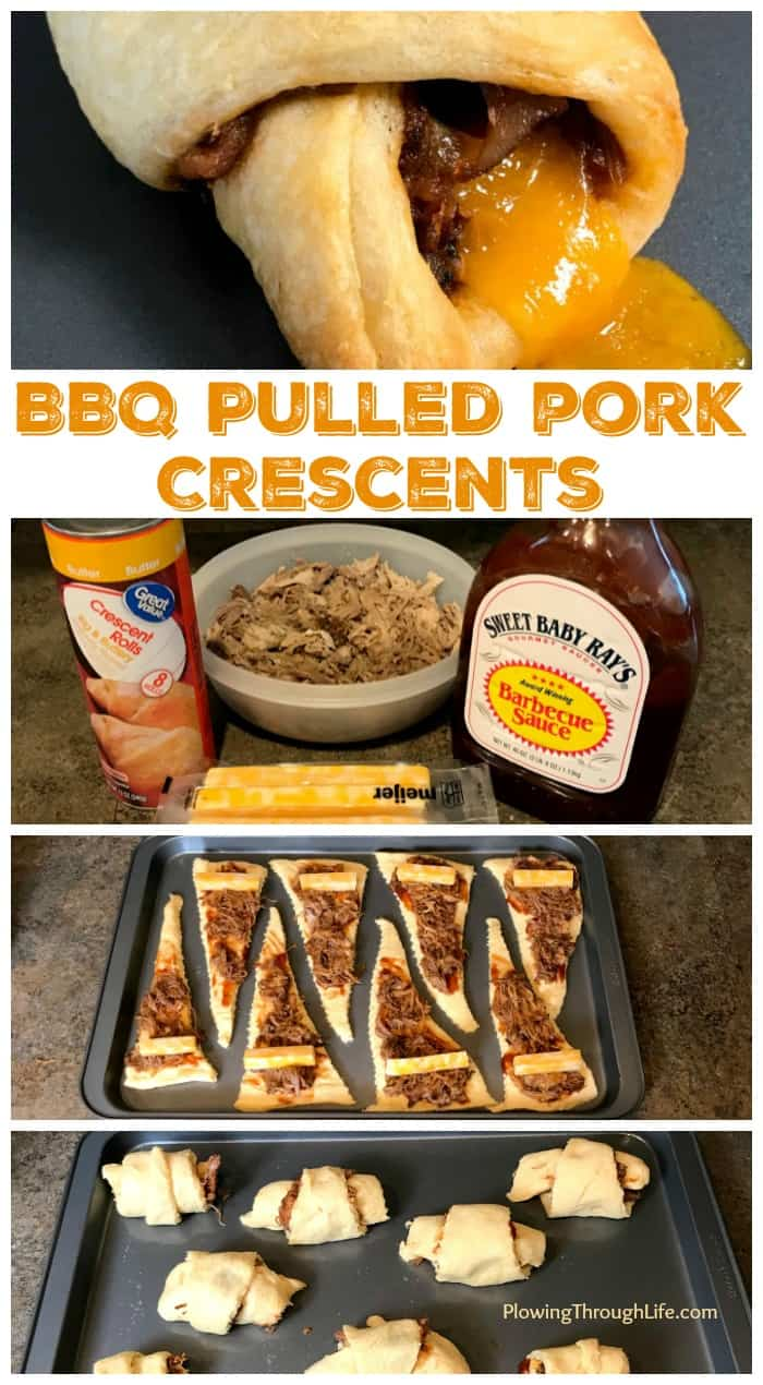 Collage of steps to make barbecue pulled pork wrapped up in crescent rolls with cheese