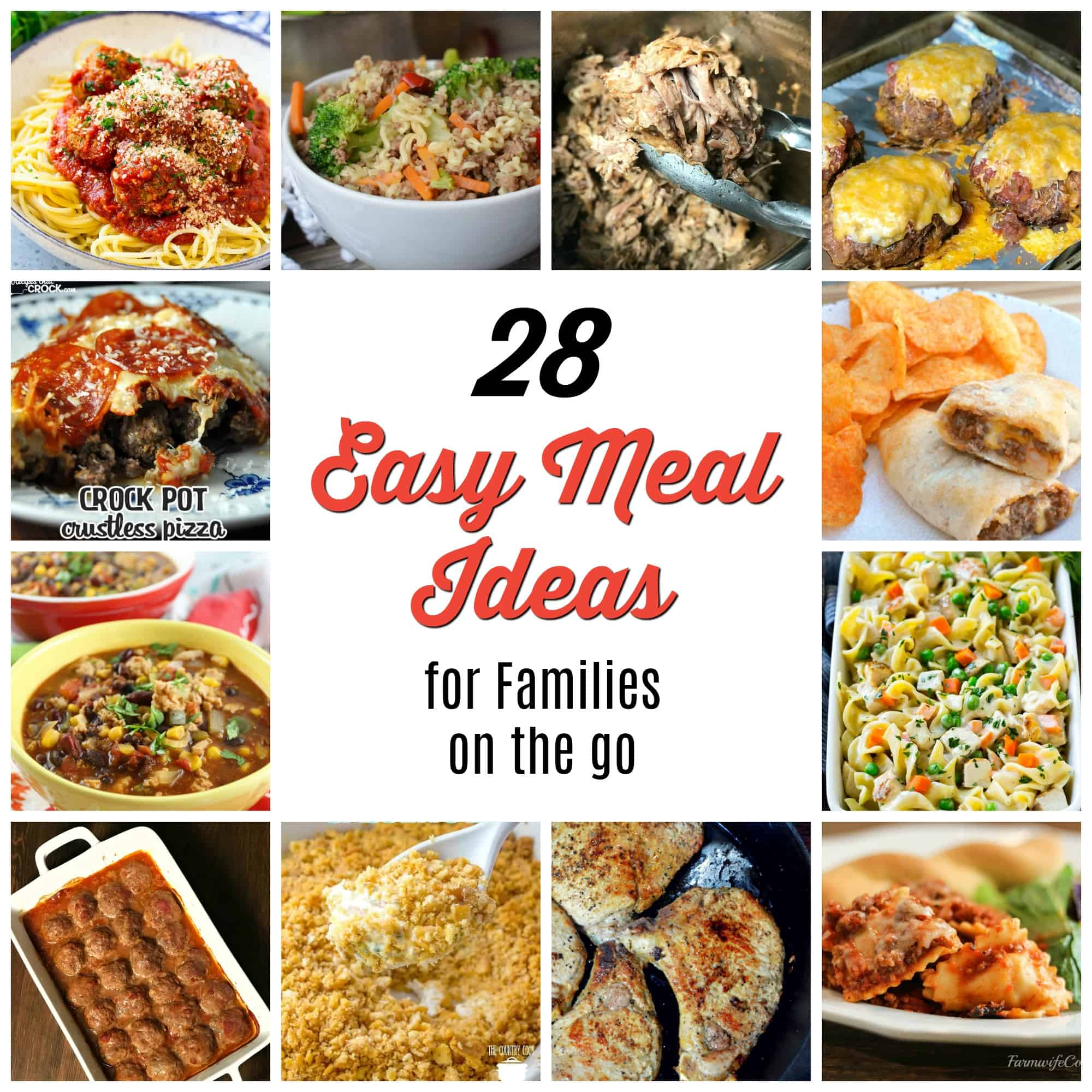 Our family is always needing new quick and easy meal ideas.  We have a few favorites like The Best Taco Meatloaf and Instant Pot Pulled Pork, but it's always great to find new recipes.  So I reached out to friends and compiled 28 Easy Meal Ideas for Families on the Go.