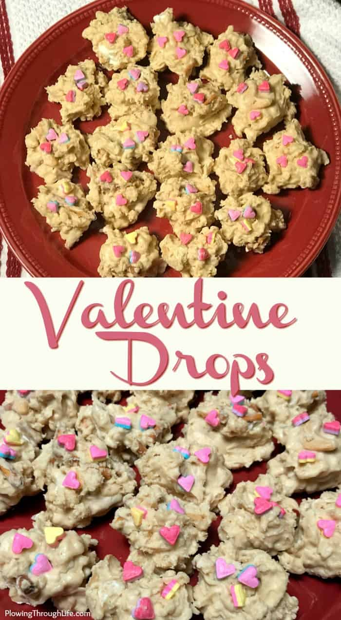 Valentine Drops with white chocolate, pretzels, crispy rice cereal, peanut butter, and cashews.
