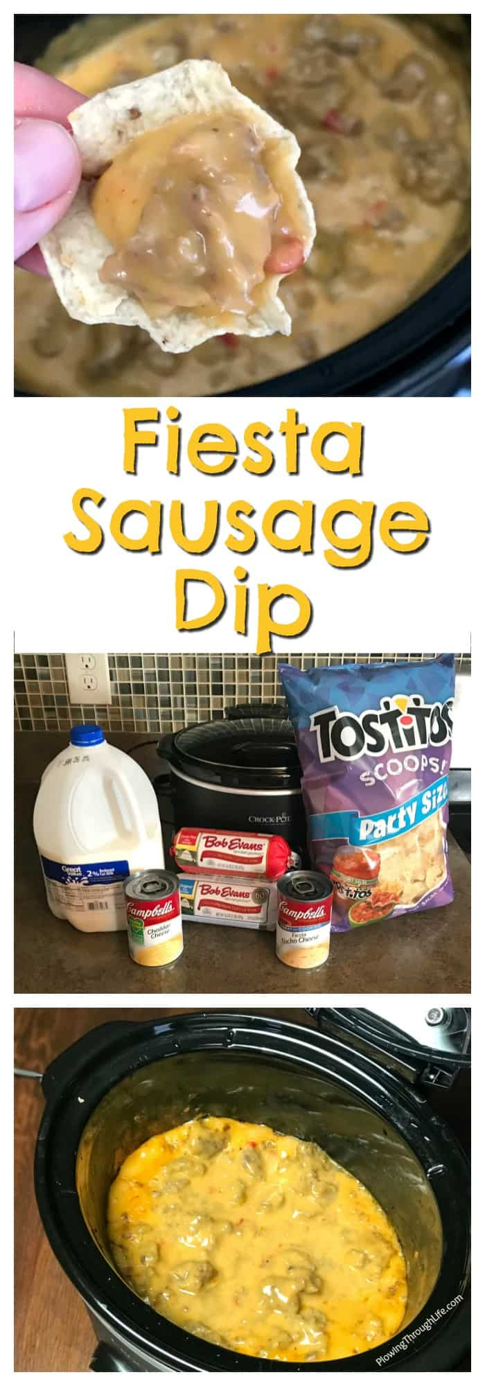 Do you want to have the best sausage dip at the party?  This crock pot Fiesta Sausage Dip has the perfect amount of zest in the meaty and cheesy combination.  #crockpotdip #sausage