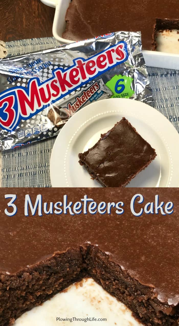 Collage of homemade 3 MusketeersCake