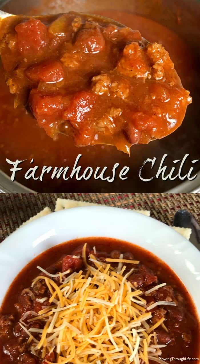 Collage of hearty Farmhouse Style Chili in a pot on a spoon and in a white bowl with cheese.