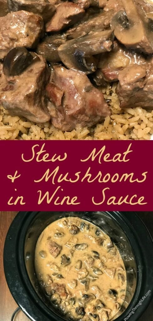 collage of mushrooms over stew meat and rice and Crock Pot Stew Meat and Mushrooms in a slow cooker